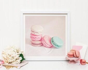 Paris macaron print - Food photography - Macaron - Pastel