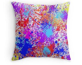 Multi Color Paint Splash Pillow, Paint Splatter Pillow, Paint Spill PIllow, Paint Splash Pillow, Paint Splash Decor, Paint Splash Bedding