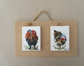 miniature rooster and hen