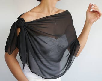 Black Chiffon Shawl, Shoulder Wrap Sarong Evening Stole, Formal Scarf, Costume Dress Coverup, Bridesmaids Shawl