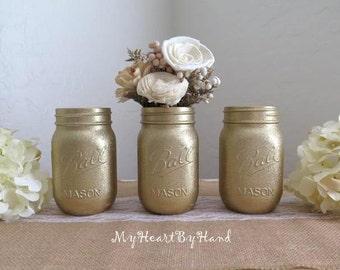 Gold Glitter Mason Jars, 50th Anniversary Centerpieces, Glitter Mason Jars, Painted Mason Jars, Baby Shower, Wedding Decor, Painted Gold Jar