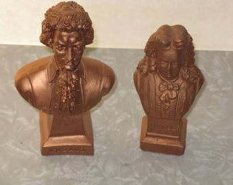Vintage ceramic pair of bust Mozart and Handel copper colored