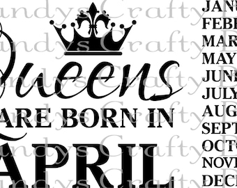 Digital file SVG Queens are born in - All Months Included
