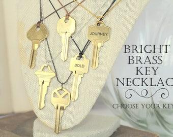 Hand Stamped Key Necklace, Bright Brass Key, Custom Key Necklace, Bulk Order Discounts, Inspirational Necklace, Motivational Necklace