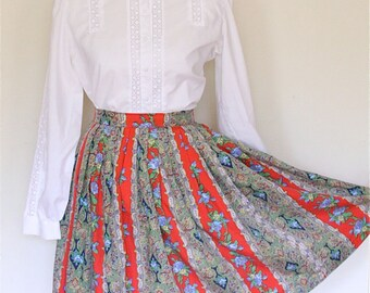 50's Red Skirt - 1950's - Folk Swing Skirt