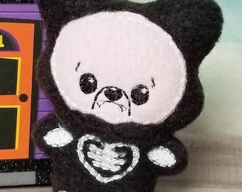 Wolf Plush - Wolf Skeleton - Halloween Plush  - Werewolf Playset - Skeleton Doll - Unicorn Plushie - Halloween Plushie - Play Set -Pink Wolf