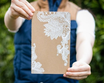 White Lace    Brown Moleskine Journal