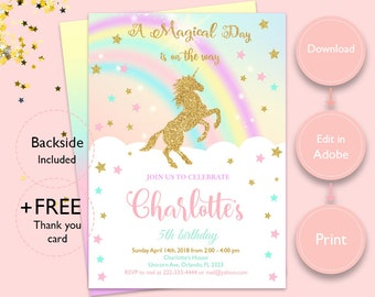 Magical  rainbow gold Unicorn Invitation, Instant Download unicorn invitation and get a free thank you card