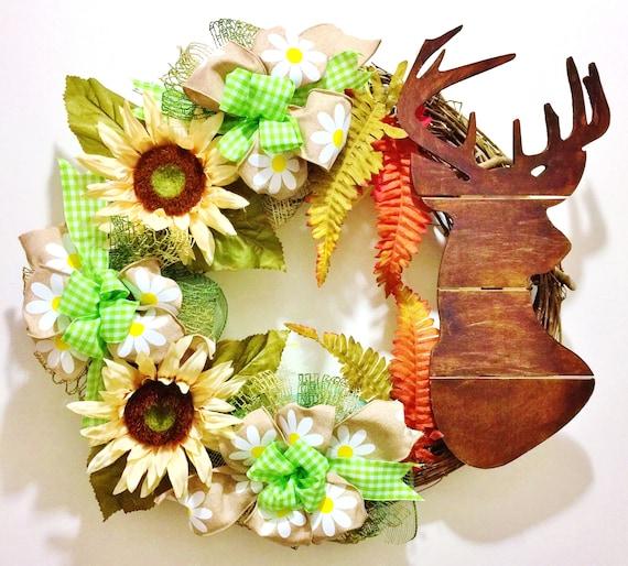 Deer Hunting Antlers - Welcome Door Grapevine Wreath