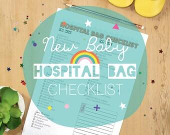 New Baby Hospital Bag Checklist Printable / Baby Planner - Instant Download Maternity Bag - Digital File Organiser - Mum to Be Help