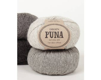 DROPS Puna, Alpaca yarn, Alpaca fiber, Alpaca wool yarn, Knitting yarn, DROPS yarn, Pure alpaca, dk yarn alpaca, worsted yarn, superfine
