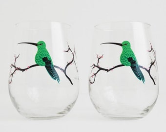 Hummingbird Glass - Set of 2 Hand Painted Stemless Glasses, Mothers Day Gift, Mother's Day, Cherry Blossoms, Cherry Tree