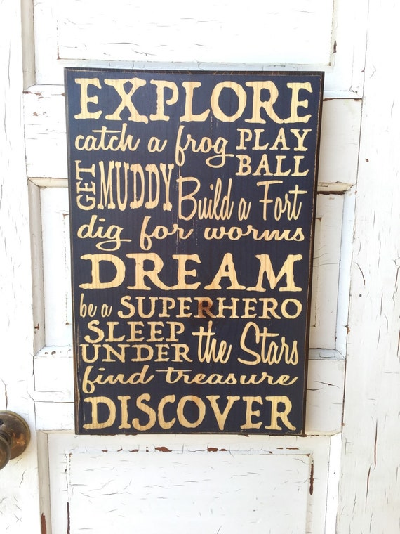 Explore Dream Discover Superhero Art For Boy's Room- Boys Room Decor- Navy Blue Boys Sign- Art for Boys- Playroom Decor- Boys Sign Art Decor