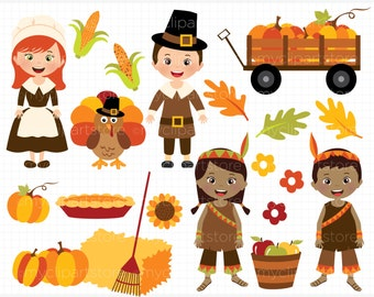 Clipart - Fall / Autumn / Happy Thanksgiving - Digital Clip Art (Instant Download)