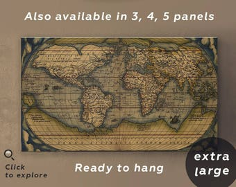 Large vintage world map 3 panel wall art 3 piece wall art old large vintage world map antique world map canvas wall art old map print vintage gumiabroncs Images
