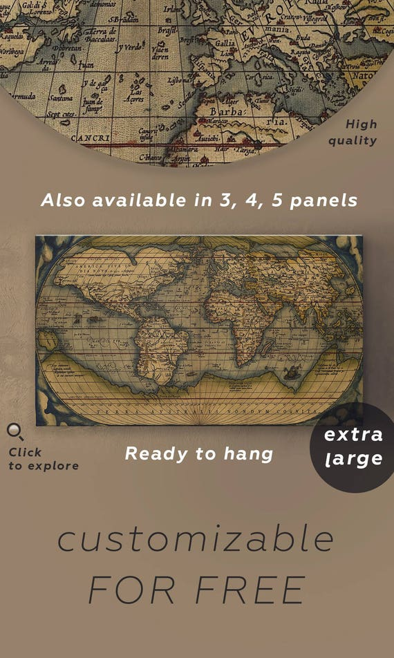 Large vintage world map antique world map canvas wall art gumiabroncs Image collections