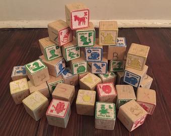 Vintage Sesame Street Wood Blocks/Vintage ABC Blocks/Vintage Sesame Street Alphabet Blocks
