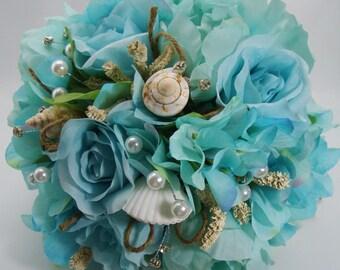 Beach Wedding Seashell Bouquet with Aqua Hydrangea, Peonies, and Roses