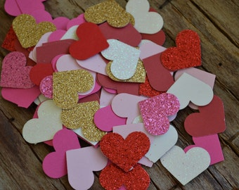 """Valentine's Day Confetti Heart Punches, Heart Cut Outs, Scrapbooking, Embellishments (1"""") 
