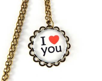 Necklace i love retro cabochon