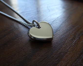Chunky Silver Heart Pendant Necklace, Handmade