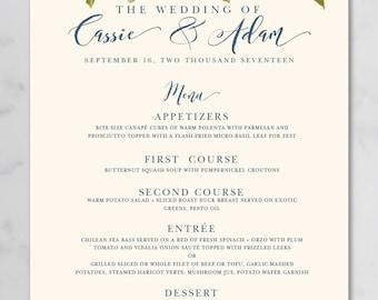 hue rose watercolor wedding buffet menu poster printable rh etsy com wedding buffet menu pdf wedding buffet menu ideas for 150 people