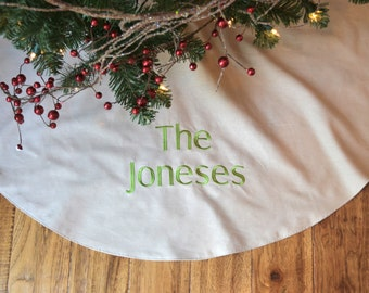 Personalized Christmas Tree Skirt   Natural Colored Linen Tree Skirt    Monogrammed Natural Christmas Tree Skirt