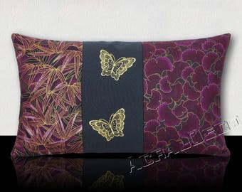 Cushion leaves bamboo Eggplant/black/gold-headband black embroidered butterflies-Eggplant/gold ginkgo leaves.