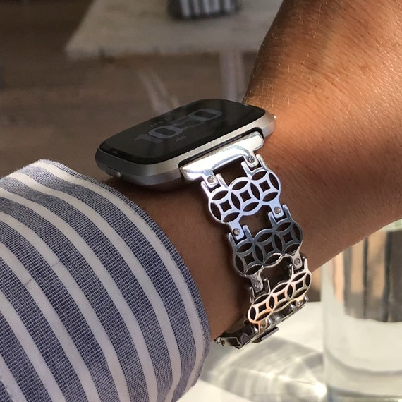 Watch Band FLOWER of Life for Fitbit Versa - silver, gold or rose gold - stainless steel