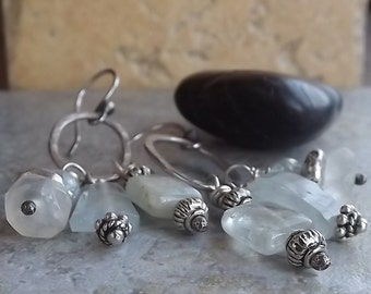 Sterling Silver Aquamarine and Moonstone Earrings