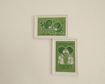 Green Print Wall Hangings (Set of 2). Print Wall Hangings. Couple Picture. Bird Picture. Vintage Home Decor.