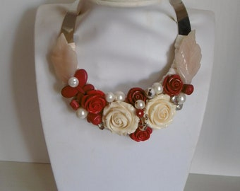 Stainless steel choker with resin roses