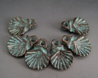 Naos Mykonos Beads Greek Beads Small Scallop Shell Charms Antiqued Green Patina (6 charms)