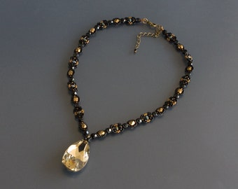 Black and Bronze Beaded Necklace with Large Light Bronze Crystal Drop Pendant and Faceted Beads. Textured Necklace with Crystal Pendant S269
