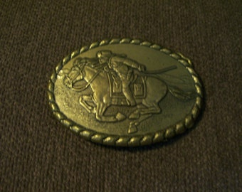 Brass Pony Express Rider Commemorative Buckle 1981