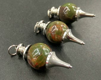HOT NEW 10pcs/lot -Natural Unknown Dark Green Stone Dowsing Pendulum, Green Stone Chakra Pendulum,18mm round ball healing chakra pendulum