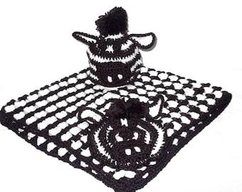 Crochet Baby Blanket, Hat Set, Newborn, Baby Zebra, Black, White, Baby Shower Gift,,