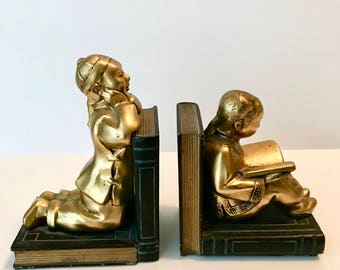 Vintage Bookends, Ronson Bookends, Asian Children, 1920's/1930's, Designed by Louis V. Aronson, Ronson Art, New York City, Book Lover