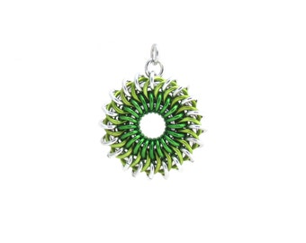 Green Sunburst Pendant, Chain Maille Pendant, Aluminum Jump Ring Jewelry