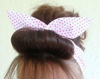 Dolly Bow Wire Headband White with Tiny Hot Pink Polka Dots Rockabilly Pin Up Hair Accessory for  Teens Women Girls