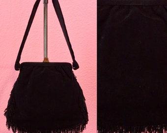Vintage 1940s Handbag • Black Suede Fringe Tassel Evening Bag