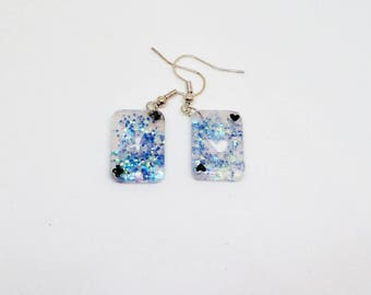 Resin playing card earring blue