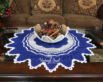 Blue and White Crochet Table Centerpiece - Pinwheel Crochet Doily - Vintage Decor - Crochet Lace Doily - Cottage Decor - Wedding Gift