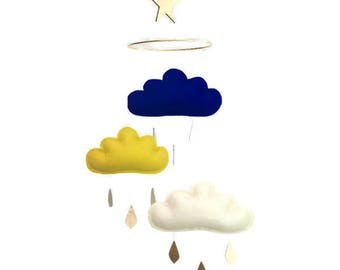 Navy and mustard baby mobile, navy cloud mobile, gold baby mobile, navy nursery, gold nursery, baby boy mobile, baby nursery, blue nursery,