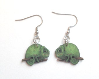 Green Chameleon Earrings Handcrafted Plastic Jewelry Accessories Fashion Novelty Unique Gift Gifts for Her