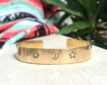 Brass or Aluminum Sun Moon Star Stamped Cuff Bracelet Moonchild Celestial Sunshine