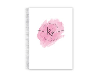 Daily Planner Personalized – Dateless Planner Spiral Bound, Pink Watercolor Planner A5
