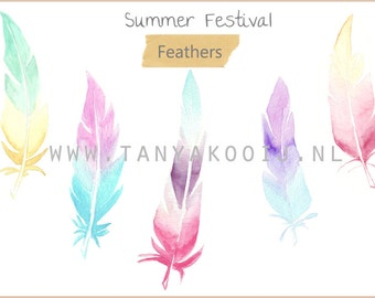 Watercolor Feathers in PNG and JPEG, High Resolution 300 DPI