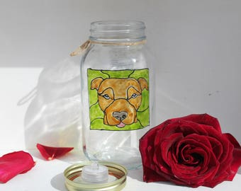 handmade pitbull dog portrait on glass jar with a stained glass look