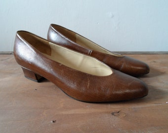 Vintage 1980's Gabor fashion Austria brown snake grain leather low heel court shoes UK size 5.5